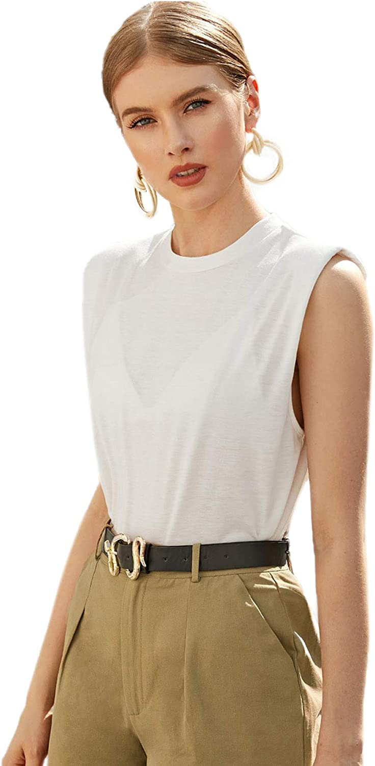 SOLY HUX Women's Sleeveless Shoulder Pad Casual Tank Top
