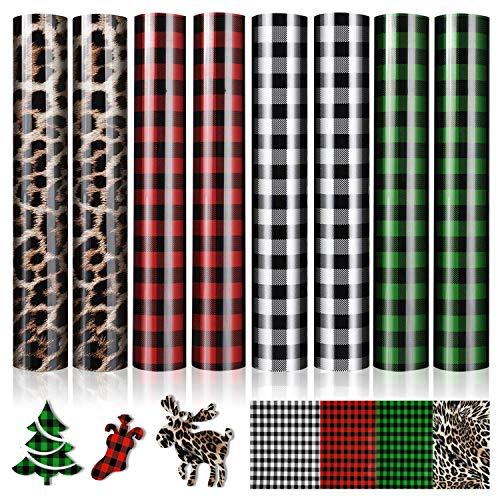 8 Sheets Christmas Buffalo Plaid Leopard Print Htv, Assorted Pattern Printed Htv Leopard Buffalo Plaid Iron on Vinyl, Buffalo Plaid Heat Transfer Vinyl for DIY Fabric Craft T-Shirts (12 x 10 Inch)