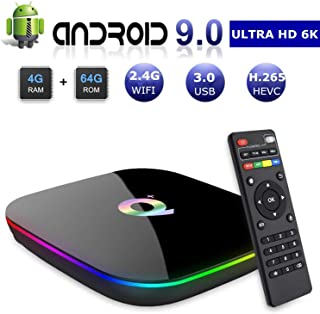 Android 9.0 Smart TV Box, 4GB RAM 64GB ROM Linkplus Q Plus H6 Quad-core cortex-A53 Frequency 2G Mali-T720MP2 WiFi 2.4GHz Support 6K H.265 HDMI 2.0 Output Ethernet RJ-45 with USB 3.0