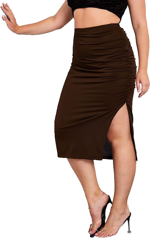 SheIn Women's Plus Split Hem High Elastic Waist Bodycon Pencil Solid Midi Skirt
