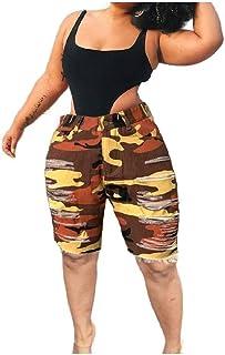 Zimaes Women Camo Ripped Hole Bermuda Sexy Denim Jean Shorts