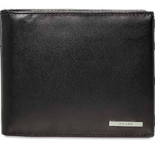 Picard Safety 8076 schwarz, Leder Geldbörse mit eingearbeiteter CRYPTALLOY®-Technik