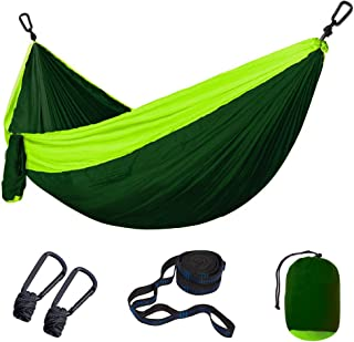 lifecolor Camping Double Hammock, Lightweight Portable Nylon Hammock with 2 Tree Straps, Capacity 600lbs, Perfect for Backpacking Travel, Hiking, Beach, Yard, Garden
