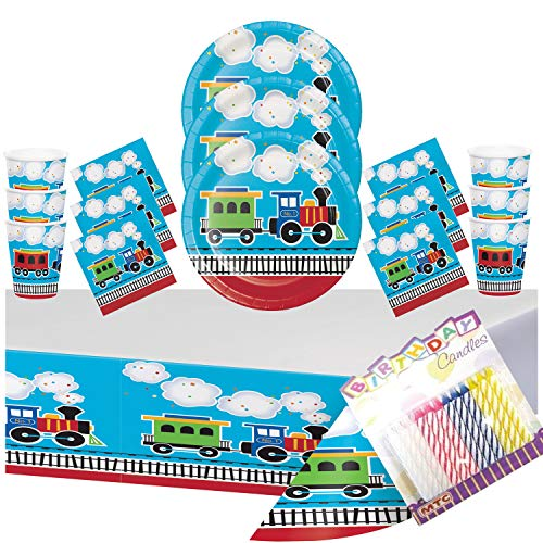 All Aboard The Train Theme Party Supplies Pack Serves 16: Plates Napkins Cups and Table Cover with Birthday Candles (Bundle for 16)