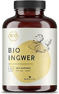 BIONUTRA® Ingwer-Kapseln Bio (240 x 600 mg), hochdosiert, deutsche Herstellung,..