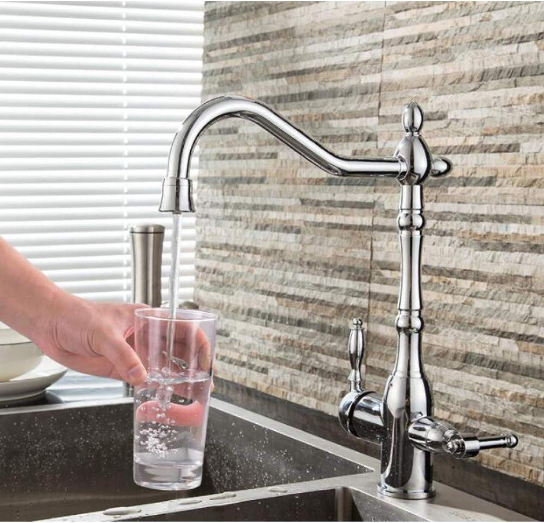 Lddpl Wasserhahn KüchenarmaturGoldarmaturen360-Grad-Drehung Drei-Wege-Hahn Für Wasseraufbereitungskran Für Die Küche