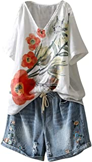 OULSEN Women's Retro Blouse Flower Pattern Printed Short Sleeve V Neck Summer Casual Loose Tunic Top Thin T-shirt Women Plus Size