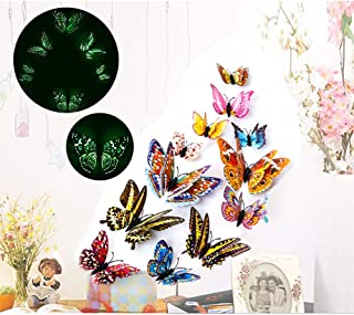 Butterfly Wall Decals Stickers,ForTomorrow 12 PCS 3D Luminous Butterfly Wall Stickers Art Decor Crafts Butterfly Wall Decals Removable DIY Home Decorations(Wall Stickers Butterfly Night Light 12PCS)