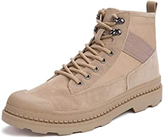 Happy-L Shoes, Hand Made Ankle Boots for Men Work Anti-Skid Boot Lace up Suede & Fabric Patchwork Low Heel Round Toe Rubber Sole Collision Avoidance Toe