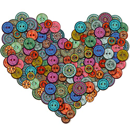 Vintage Mandala Wood Buttons for Crafts - 250 Bulk Mix Sizes Decorative Sewing Button Embellishments - Colorful DIY Art Projects Knitting Scrapbooking Garment Accessories Making Card Crochet