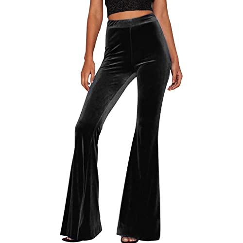 f0411a75aff073 LAEMILIA Womens Boho Comfy Stretchy Bell Bottom Flare Pants for Yoga Casual  Wear Velvet High Waist