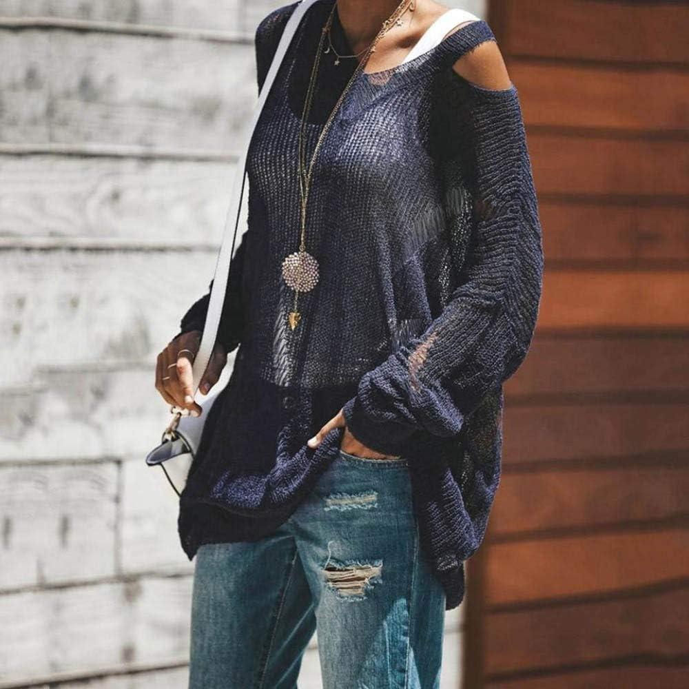 VEZAD Blouse for Womens Long Sleeve Fashion Blouse Soild Sling Knitting T-Shirt Tops