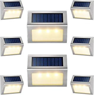 Solar Lights for Decks [Warm White] Waterproof Solar Powered Steps Light Auto On/Off Outdoor Wireless LED Lamp Lighting Wa...