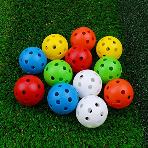 CRESTGOLF Plastic Golf Training Balls – Perforated Airflow Hollow 40mm Golf Practice Balls for Driving Range, Swing Practice, Home Use,Pet Play,12pcs-mixed