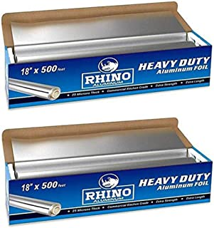 Rhino Aluminum Heavy Duty Aluminum Foil   Rhino 18 x 500 Foot Long Roll, 25 Microns Thick   Commercial Grade & Extra Thic...