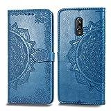 Bear Village Hülle für OnePlus 6T, PU Lederhülle Handyhülle für OnePlus 6T, Brieftasche Kratzfestes Magnet Handytasche mit Kartenfach, Blau