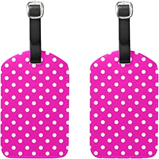 Luggage Tags White Polka Dot Pink Womens Bag Suitcase Tags Holder traveling accessories