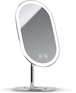 Fancii LED Lighted Vanity Makeup Mirror, 1x/ 10x Magnifying, Rechargeable - Cordless Illuminated Cosmetic Mirror with 3 Dimmable Light Settings, Dual Magnification and Adjustable Chrome Stand (Vera)