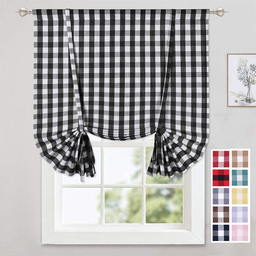 Amazon Com Caromio Tie Up Curtains For Kitchen Windows Buffalo Check Plaid Gingham Farmhouse Rod Pocket Adjustable Tie Up Shades For Kitchen Cafe Curtains 42x63 Inches Black And White Home Kitchen