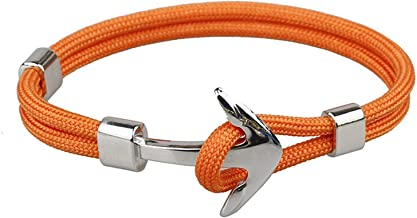 Guy-Sex Nicely Punk Silver Color Alloy Anchor with Rope Cord Chain Bracelet for Men Women Bangles Jewelry,Orange