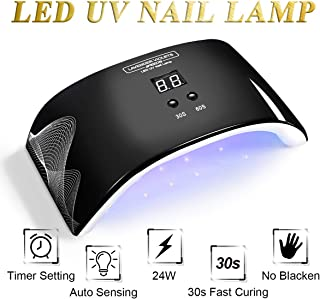 24W LED UV Nail Light Nail Dryer Auto-Sensing Quick-Drying Black, with LCD Timer Setting USB Port for Home and Salon Use J721