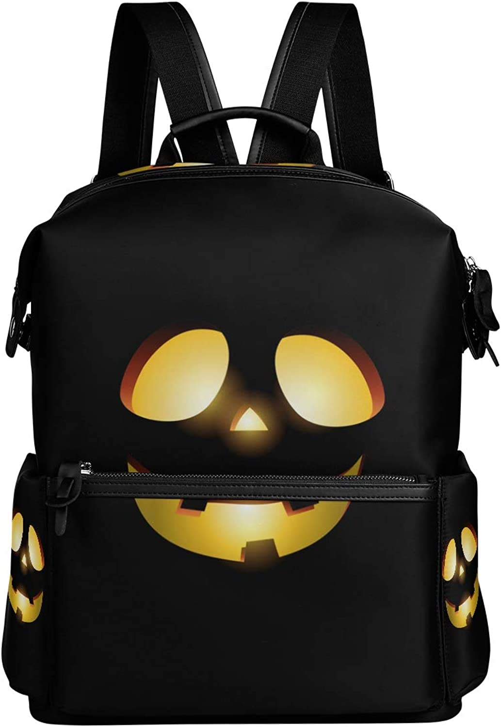 MONTOJ Scary Pumpkin Face Leather Travel Bag Campus Backpack