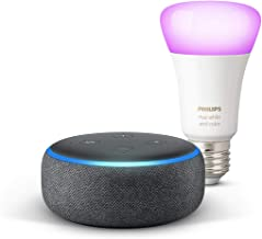 Echo Dot (3.ª generación), tela de color antracita + Bombilla inteligente LED Philips Hue White & Color, compatible con Bl...