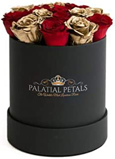 PALATIAL PETALS Roses That Last A Year | 365 Day Year-Long Lasting Roses | Preserved Forever Rose Arrangement Flower Box Bouquet | Birthday Gifts for Her Women Girlfriend Mom (Red/Gold)