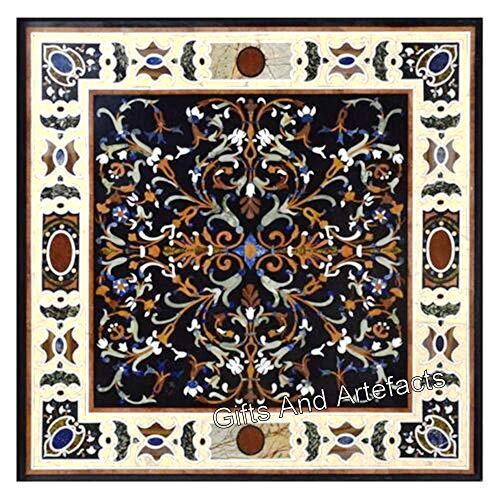36 pulgadas negro mesa de jardín mármol mesa de comedor incrustación con artesanía antigua india