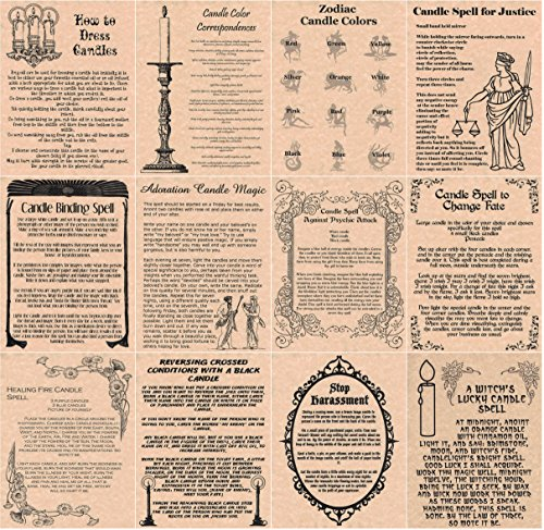 Set of 12 Candle Magic Book of Shadows Spells Pages, Wicca, Witchcraft, Real Spells (Copper)