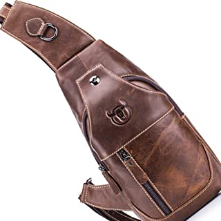Leather Chest Bag,Men's Sling Bag,Genuine Shoulder Backpack,Cross Body,Purse Water Resistant Anti Theft