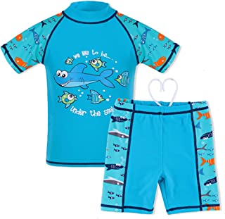 HUANQIUE Boys Swimsuit UPF50+ UV 3-12 Years Two Piece Protective