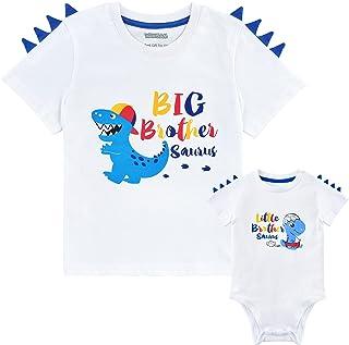 WAWSAM Hermano Mayor Hermano Pequeño Camisetas Conjunto Dinosaurio Regalo