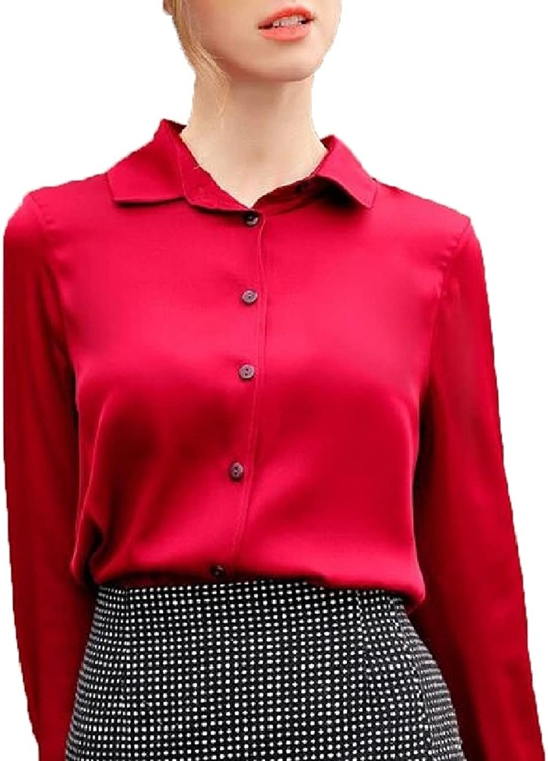 XQS Womens Solid Elegant Long Sleeve Lapel Neck Silk Button Down Shirt