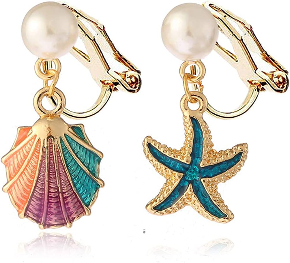 Multicolor Blue Starfish Shell Clip on Earrings no Pierced Dangle Soft Pads Faux Pearl for Women Girls