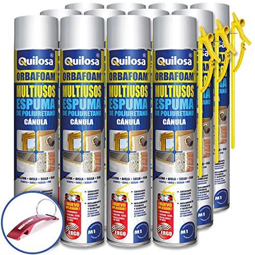 QUILOSA - Pack 12 espuma de poliuretano Quilosa Orbafoam O2-M1 con Cánula 750ml (Llavero Abrebotellas Bricolemar de Regalo!)