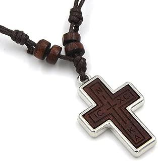 Olive Wood Russian Orthodox Cross Pendant Hemp Cord Necklace, Nika, ICKC