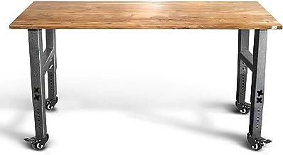 "Mobile Garage Workbench w/Casters | 61"" Acacia Hardwood Top | Adjustable Height Legs.."