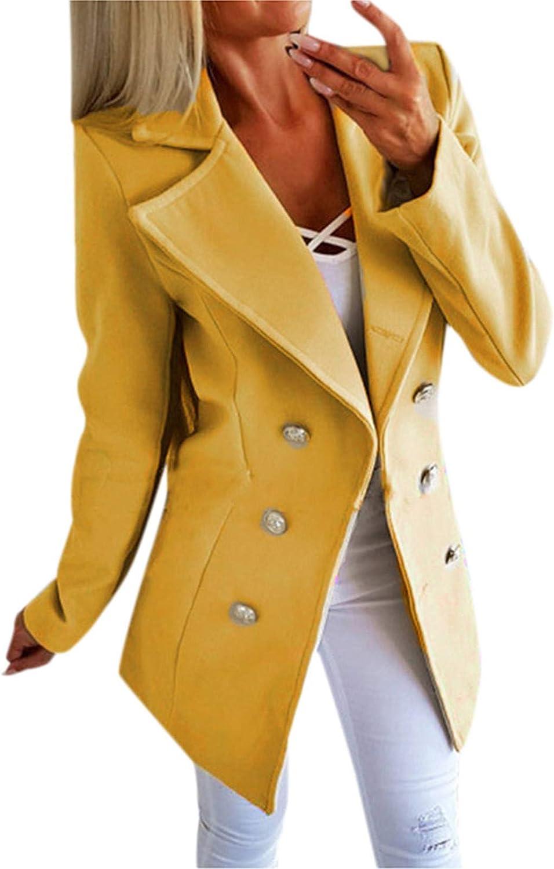 WUAI-Women Plus Size Long Sleeve Open Front Cardigan Jackets Lightweight Double Breasted Button Blazer Suit Jackets Coats
