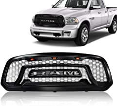 ISUNLIT Black Grille Mesh For Dodge Ram 1500 2013-2018 Rebel Style Replacement Grill Honeycomb Bumper (with Three LED Amber Lights)