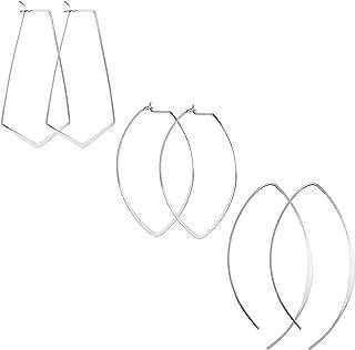 SAILIMUE 3 Pairs Hypoallergenic Earrings Lightweight Open Wire Needle Hoop Drop Dangle Earrings for Women Girls Curved Threader Earrings Set