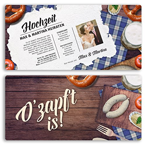 (10 x) Hochzeitseinladungskarten Frühschoppen bayrisch Einladungskarten Hochzeit