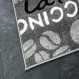 Trendiger Kaffee Teppich, verschiedene Schriftarten und Muster, Meliert in Grau, Weiß und Schwarz ideal für die Lounge oder Küche – ÖKO TEX Zertifiziert, Maße:120 cm x 170 cm - 3