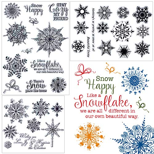 3 Sheets Snowflake Clear Stamps Assorted Christmas Silicone Stamps Snowflake Theme Clear Stamps with Snowflake Patterns for Card Ornament Supplies and DIY Scrapbook