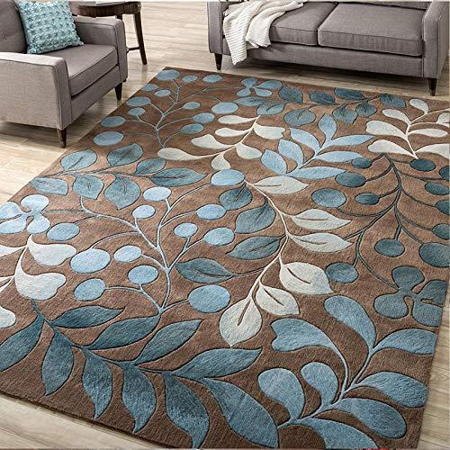 njhswlti Home Alfombra De Diseño Impresa nórdica Verde Blanco marrón Tendencia de Pelo Corto Rug Salon tradtionnel, 140x200 cm