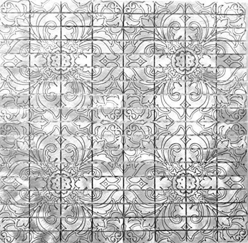 Mozaïek achterwand aluminium rechthoekig aluminium zilver tegelspiegel keuken MOS49-C101D_f