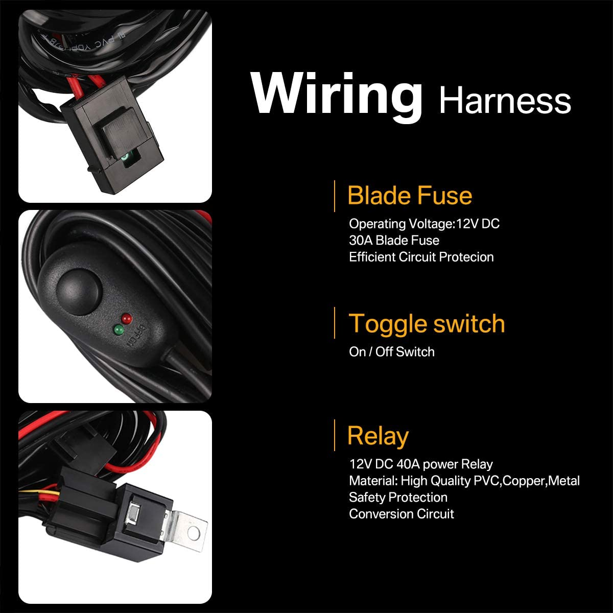 180W 12V 40A Switch Relay Kit For ATV SUV Boats 2 Leads Fog Light Assemblies Wiring Harness for LED Light Bar /& HID Halogen lamp