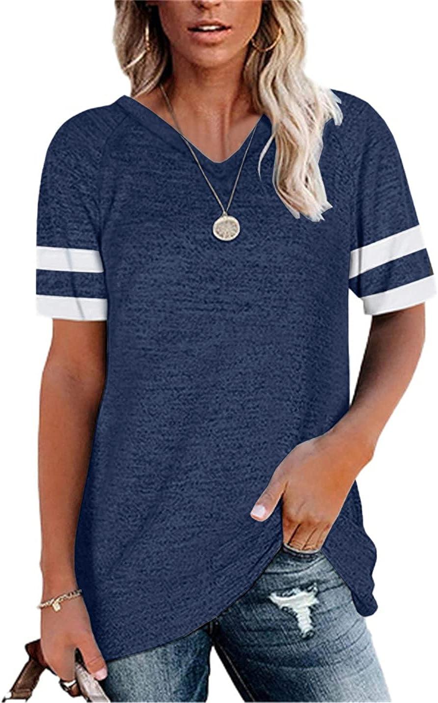 Aoysky Womens V Neck Short Sleeve Striped T Shirt Color Block Tunic Blouse Tops