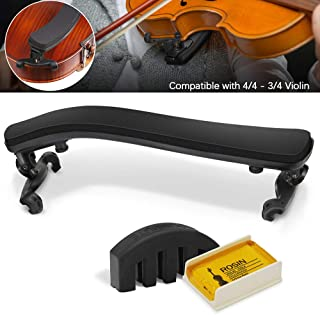 Violin Shoulder Rest for 4/4-3/4 size,Collapsible and Height Adjustable Feet,Violin universal Type Violin Parts soft easy to use,High strength sponge(Black),Including Violin Mute and Violin rosin.