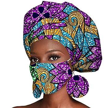 African Headwrap Earrings Hair Accessories Scarf Bonnet Ankara Wax Fabric Head Turban African Headscarf Mask Match Print 575